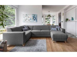 BOBOCHIC - canapé d'angle panoramique xxl fixe bella gris angle gauche - Divano Componibile