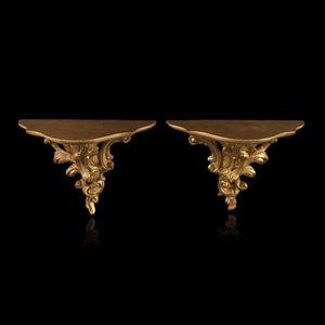 Expertissim - paire de consoles à suspendre en bois doré - Consolle Di Applique