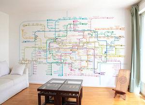 Ohmywall - papier peint plan de métro de paris - Carta Da Parati