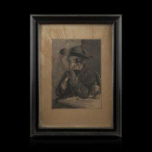 Expertissim - ecole du xixe siècle. le fumeur de pipe - Disegno A Inchiostro