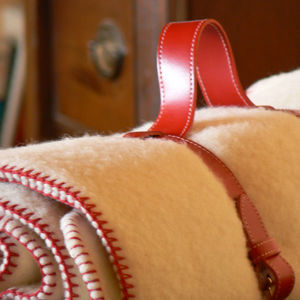 MIDIPY - plaid laine ivoire en haute laine pyrénéenne finit - Coperta