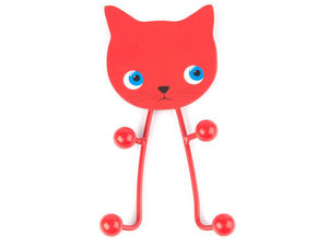 JIP - PAPIRNY VETRNI  A. S. - porte-manteaux chat en métal rouge 11x21x3cm - Appendiabiti Da Terra
