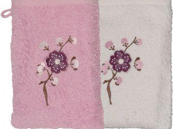 SIRETEX - SENSEI - gant eponge brodé blossom coton - Guanto Da Bagno