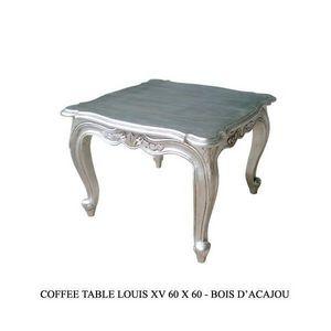 DECO PRIVE - table basse baroque argentee 60 cm - Tavolino Di Servizio