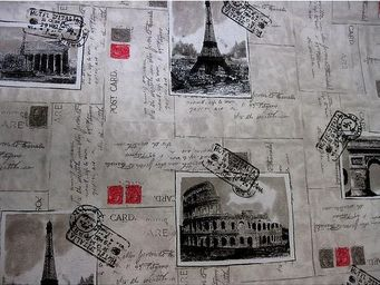 Le Quartier des Tissus - tissu imprime carte postale de paris - Tessuto Stampato