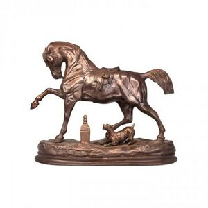 Demeure et Jardin - cheval et chien en bronze - Scultura Animali