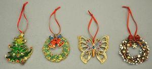 Demeure et Jardin - set de 4 décorations de noel pour sapin à suspendr - Decorazione Natalizia