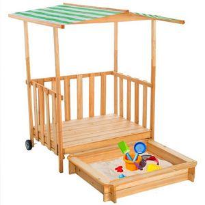 WHITE LABEL - bac à sable enfant bois + toit - Sabbiera
