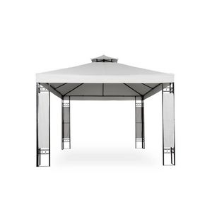 WHITE LABEL - tonnelle de jardin pavillon métal 4x3 blanc - Pergolato