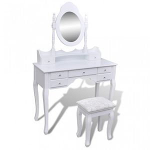 WHITE LABEL - coiffeuse avec miroir et tabouret blanc - Toeletta