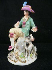 Demeure et Jardin - gentilhomme au chien - Figurina