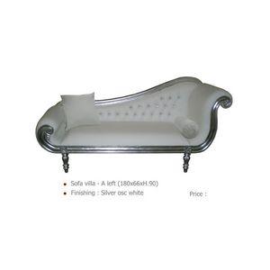DECO PRIVE - méridienne de style argentée et simili cuir blanc  - Chaise Longue