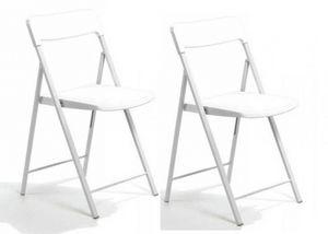 WHITE LABEL - lot de 2 chaises pliantes kully blanche - Sedia Pieghevole