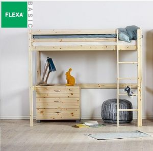 FLEXA - lit mezzanine flexa en pin vernis naturel couchage - Letto A Soppalco