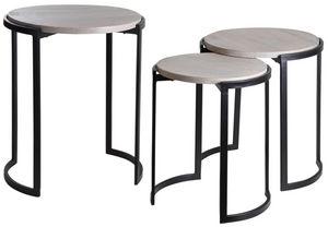 Aubry-Gaspard - sellettes rondes en métal et manguier (lot de 3) - Tavolini Sovrapponibili