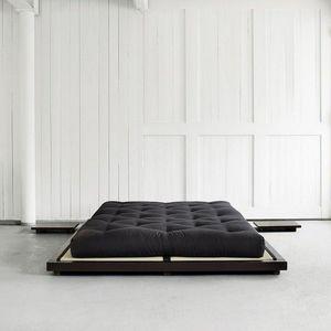 WHITE LABEL - cadre de lit avec sommier lattes pour tatami dock  - Letto Singolo