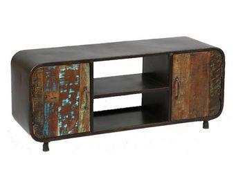 WHITE LABEL - meuble tv 2 portes - bric - l 130 x l 40 x h 53 - - Mobile Tv & Hifi