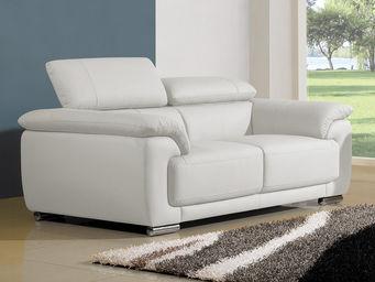 WHITE LABEL - canapé cuir 2 places marjorie - Divano 2 Posti