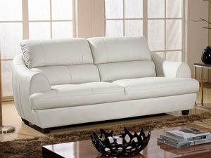 WHITE LABEL - canapé cuir 3 places mona - Divano 3 Posti