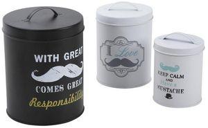 Aubry-Gaspard - boite ronde de rangement moustache (lot de 3) - Scatola Sistematutto