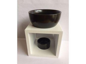 Drake - brûle parfum carré bois blanc et céramique noir - Brucia Profumo