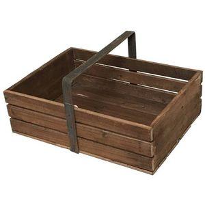 CHEMIN DE CAMPAGNE - grand panier casier caisse en bois de cuisine -