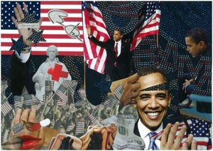Caroline  de Sars - obama's star - Quadro Contemporaneo