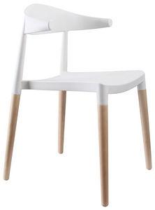 COMFORIUM - chaise coloris bois et blanc design - Sedia