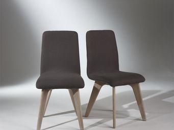 Robin des bois - chaises, chêne, lin gris, pieds fuselés, sixty - Sedia